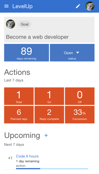 LevelUp goal page